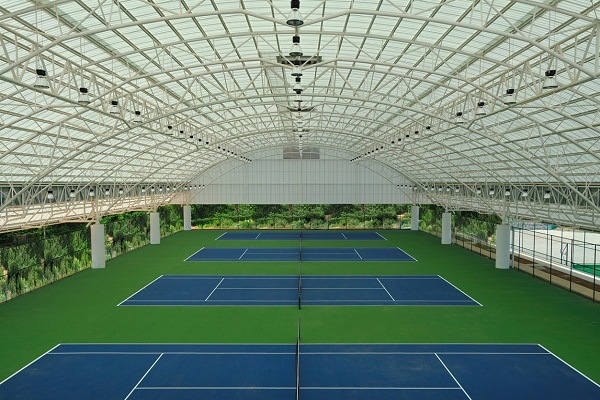 Shade Sails for Twin Tennis Court