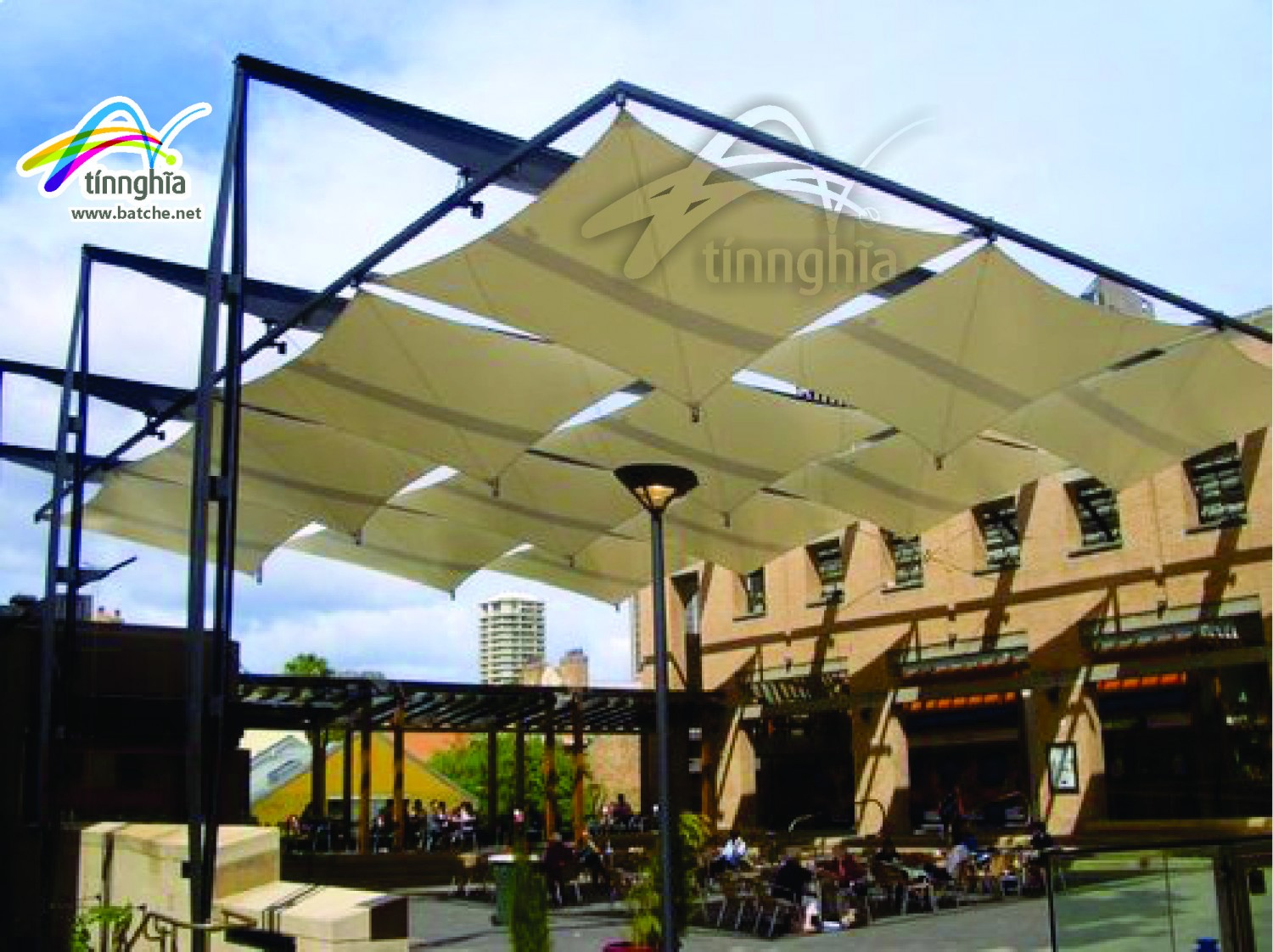 Handy Square Shade Sail for Coffee Shop