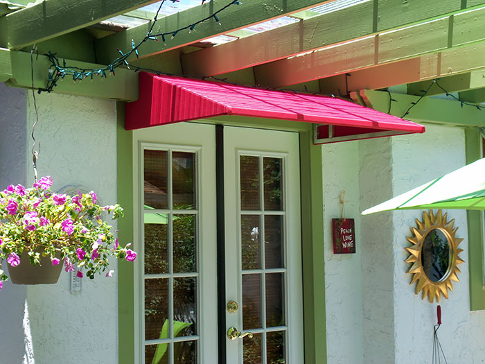 bright red door awning